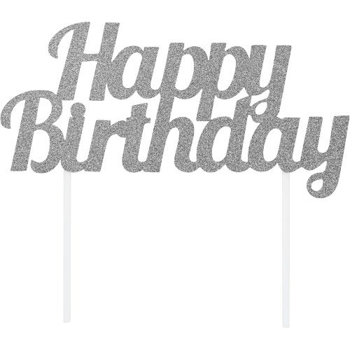 Cake Topper Happy Birthday Plateado