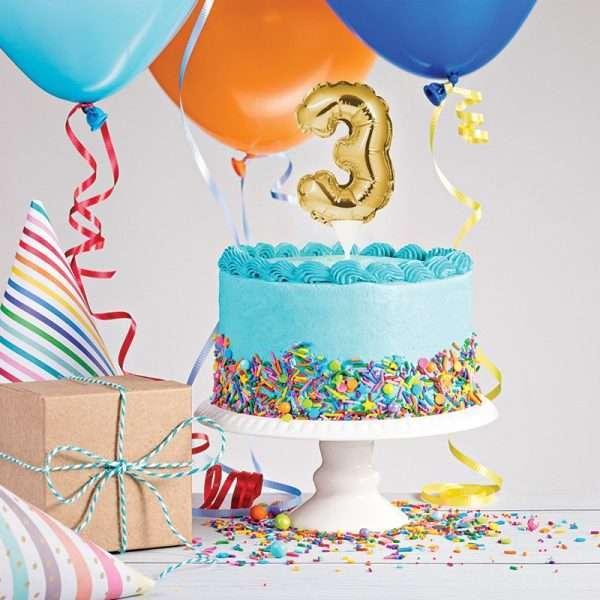 Cake Topper 3 Dorado (Inflable)