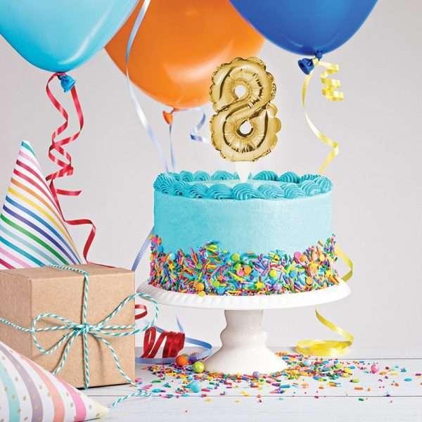 Cake Topper 8 Dorado (Inflable)