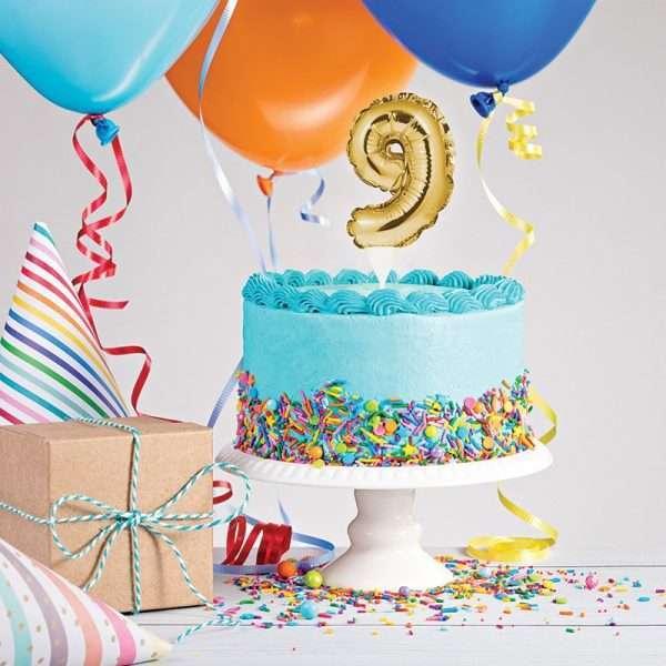 Cake Topper 9 Dorado (Inflable)