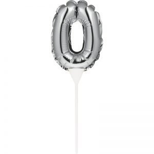 Cake Topper 0 Plateado (Inflable)