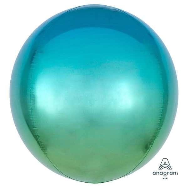 Globo Mylar Ombre Orbz Azul/Verde