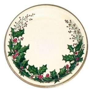 Plato de Cartón Christmas Holly