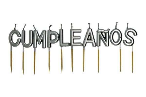 Velas Plateadas Feliz Cumpleaños