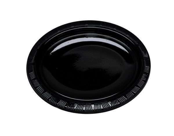 Plato Plástico Ovalado Negro