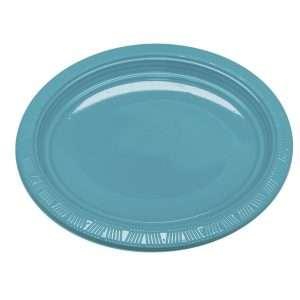Plato Plástico Ovalado Azul Turquesa