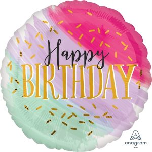 Globo Mylar Happy Birthday Water Color