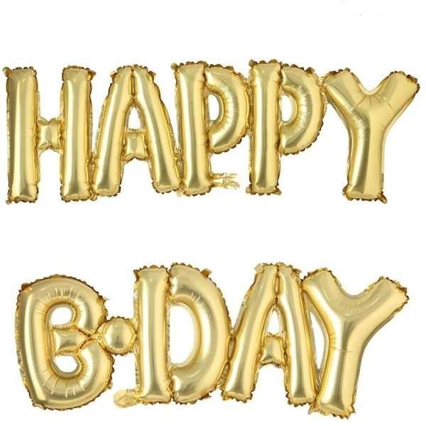 Globo Mylar Happy Birthday Gold