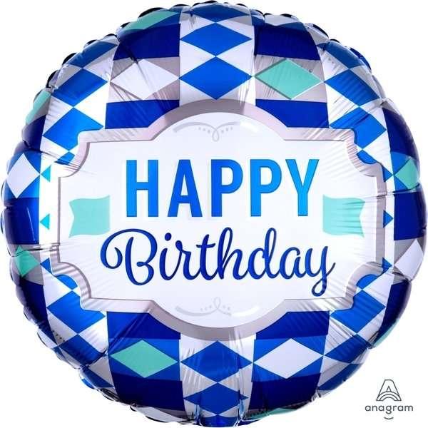 Globo Mylar Happy Birthday Azul