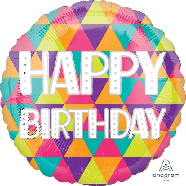 Globo Mylar Happy Birthday Triangulos