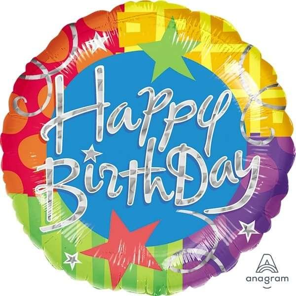 Globo Mylar Happy Birthday Colorido