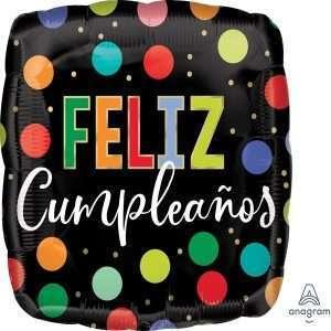 Globo Mylar Feliz Cumpleaños Negro