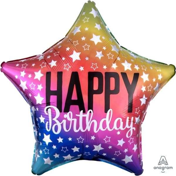Globo Mylar Estrella Happy Birthday Mulicolor
