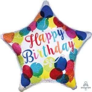 Globo Mylar Estrella Happy Birthday Holografica