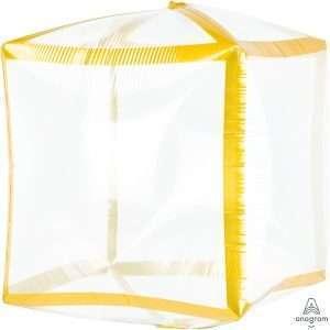 Globo Mylar Cubo Dorado Transparente