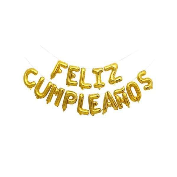 Globo Mylar Feliz Cumpleaños Dorado