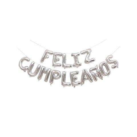 Globo Mylar Feliz Cumpleaños Plateado